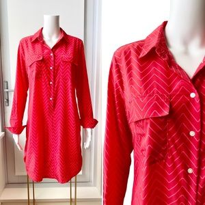GAP Deep Coral and Pink Chevron Shirt Dress